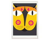 Cat lovers Art Print, Kids Room Art, Print, Poster, Cat Art, Nursery Art, Crazy Cat Lady, Pop Art, yellow, Red art print by nicemiceforyou