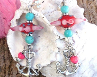 Turquoise and Pink Anchor Earrings, AncHor Jewelry, BEaCh EaRrInGs, Nautical EarriNgs, Flower EaRrings, BeAch JeWelry