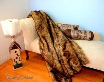 Wolf Fur Throw Lodge Cabin Comforter Home Accent Decor, Rustic Throws Custom Made USA