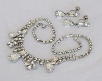 Vintage Rhinestone Demi Parure, Clear Crystal Necklace Earring Set, 150