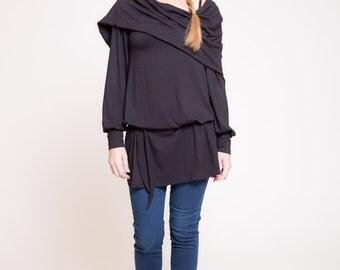 Womens tunic - long sleeves tunic shirt, cowl neck tunic, black tunic top, fall fashion, winter tunic  sizes : XS / S / M / L / Xl
