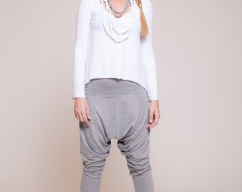 Women harem pants, Drop-crotch pants, women trousers, yoga pants, grey pants  sizes : XS / S / M / L / Xl