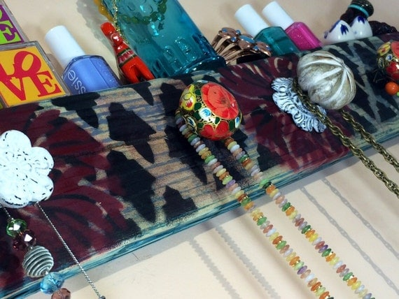 Necklace display /jewelry organizer /reclaimed wood art decor/ scarf holder wall hooks/ hanging coat rack stenciled morrocan pattern 5 knobs