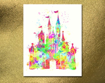 Digital Poster, Disney Castle Print Watercolor, Baby Room Nursery, Illustration, Watercolour, Kids Print, Kid Nursery, Home Decor