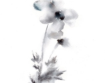 Minimalist Watercolor Painting Art Print, Abstract Flower Painting, Wall Art