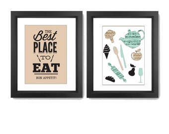 Kitchen Wall Art - Kitchen Wall Decor - Kitchen Print Set - Kitchen Art - Kitchen Quotes Art - Set of 2 Prints - Kitchen Decor