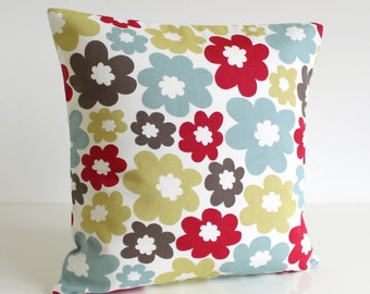 Flower pillow cover, Red cushion cover, pillow sham, cotton pillows, throw pillow cover, sofa pillow, couch pillows - Nordic Daisy Red