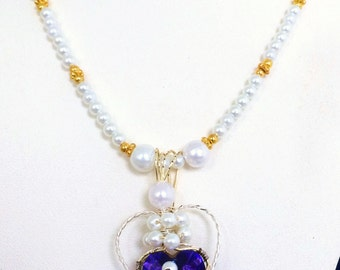 White Pearl Necklace Pendant Handmade Wire Wrapped Sapphire Heart Pendant Gifts for Her Gold Filled Crystal Beaded Pendant Necklace  #211