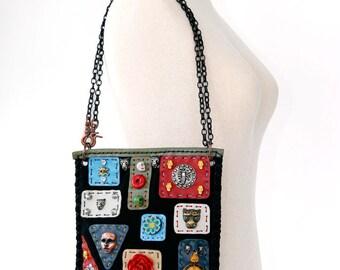 Black leather purse mystic magic suede handbag Black Magic Weird handbag Original Shamanism skulls purse Black ONE OF A KIND