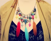 Bohemian Necklace Skull Charm Chain Upcycled Jewelry Feather Women's Mexican Day of the Dead Boho Hippie Eco Friendly Sustainable OOAK