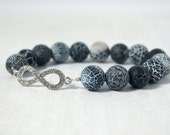 Blue Agate Bracelet with Silver Infinity Connector - Natural Stone Agate Jewelry - Denim Blue Beaded Stretch Bracelet - Infinity Bracelet