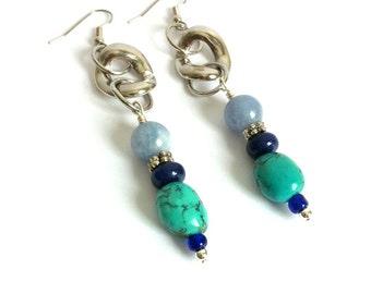 Bohemian Gemstone Blue Green Earrings Natural Aquamarine Lapis Lazuli Green Turquoise Silver Drop Earrings Long Bohemian Earrings