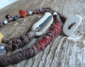 Beach Pottery Necklace - Beaded, Braided and Knotted, Boho, Warm, Color, Natural
