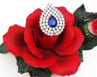 Vintage Tear Drop Brooch   Blue Rhinestone Brooch   Bridal Jewelry   Cobalt Blue Brooch Pin   Statement Piece