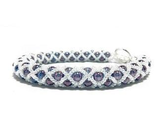 Purple Netted Bracelet - Filled Tubular Netting Stitch- Spiral Netted Rope - Seed Bead Bracelet