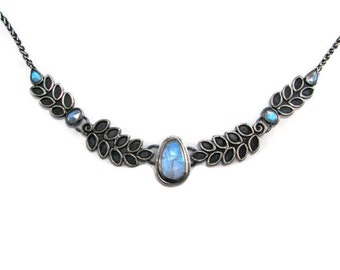 Rainbow Moonstone Statement Necklace in Oxidized Sterling Silver - Bib Collar Necklace - Leaf Necklace - Nature Collection