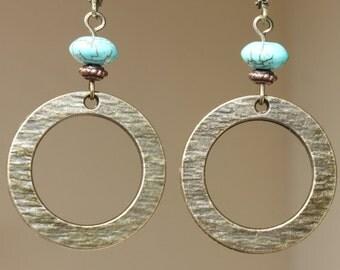 Boho Earrings Brass Turquoise Earrings Dangle earrings  Metal Hoop Earrings Bronze earrings Jewelry Gift Ideas Gift For Her