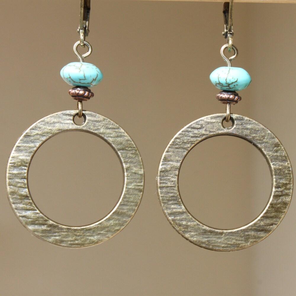 boho earrings brass turquoise earrings dangle earrings metal. Black Bedroom Furniture Sets. Home Design Ideas