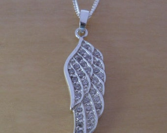 "925 Sterling Silver Crystal Guardian Angel Wing Pendant / Charm on 16, 18 or 20"" Curb Chain"
