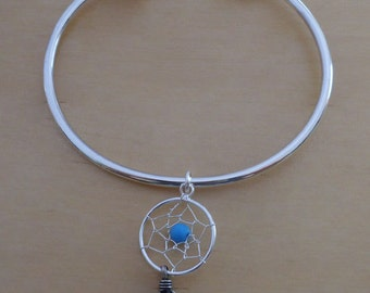 925 Sterling Silver Screw End Torque Bangle 63mm and 2.5mm Thick and Dream Catcher Charm