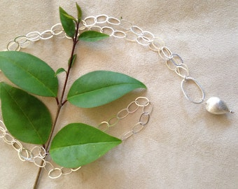 Beautiful Brushed Silver Teardrop Nugget on Modern Silver Chain