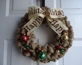 Christmas Wreath - Holiday Wreath - Christmas Decoration - Winter Wreath - Wreath for Front Door - Burlap Wreath - Christmas Ornament Wreath