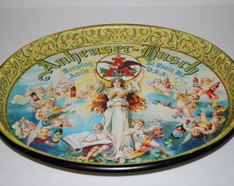 Vintage Anheuser-Busch Tray Cherub Beer Brewing Man Cave Bar Metal Tray