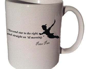 Peter Pan Second STAR TO The RIGHT quote 11 oz coffee tea mug