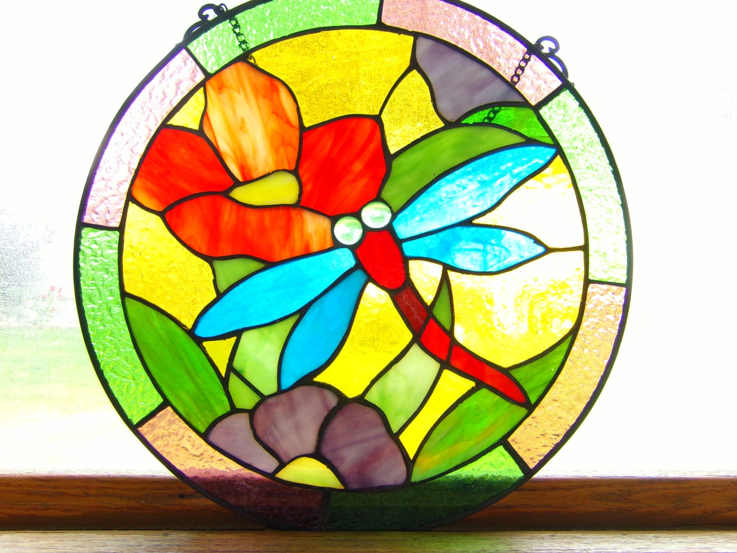 Sale vintage stained glass round stained glass home decor for 12 round window