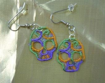 Embroidered Skull Earrings
