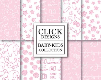 """Baby Girl Digital Paper: """"BABY GIRL"""" digital paper pack with pink baby girl elements, for scrapbooking, invites, carts, photography backdrop"""