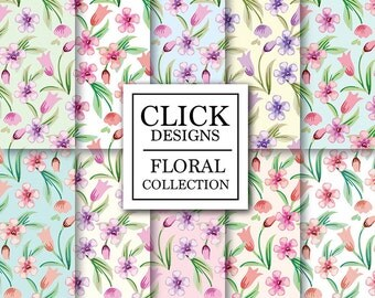 """Floral Digital Paper: """"ROMANTIC FLORAL"""" Floral wedding, pastel soft, liberty, romantic papers with flowers, for invites, cards, scrapbooking"""