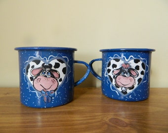 Handpainted Cow Enamel Tin Cups