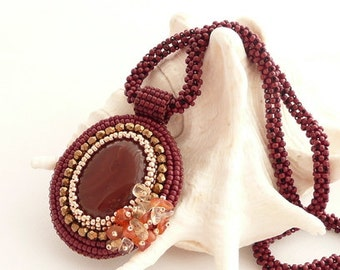 Bead Embroidery Necklace with Brown Agate Pendant Retro Vintage Necklace