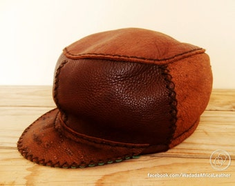 Made to Order // Handmade Eco Friendly Upcycled Deerskin Leather Breathable Peak Cap