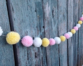 Yarn Pom Pom Garland: Pink, Yellow and White