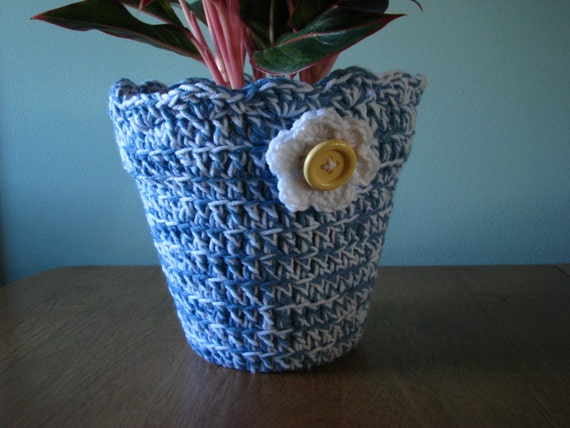 Flower Pot Cover Crochet Flower Pot Cover Personalized