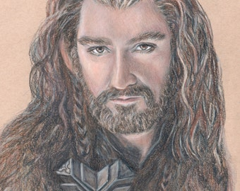 Thorin Oakenshield / Richard Armitage Print of colored pencil drawing
