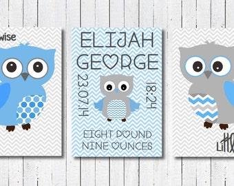 Baby Boy Nursery Print, Baby Boy Owl Print, Baby Boy Birth Announcement, Baby Boy Owl Nursery Decor, Baby Boy Christening Gift