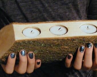 Rustic Log Candle Holder - Primitive Decor - Rustic Decor - Reclaimed Wood - Rustic Home Decor- Wood Candle Holder - Log Tealight Holder