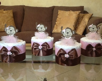 Baby Girl diaper cake set of 4 mini diaper cakes Monkey themed baby shower centerpieces