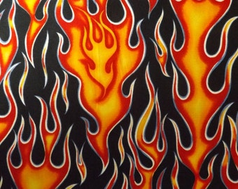 Alexander Henry Wheels on Fire Orange Cotton Fabric BTY