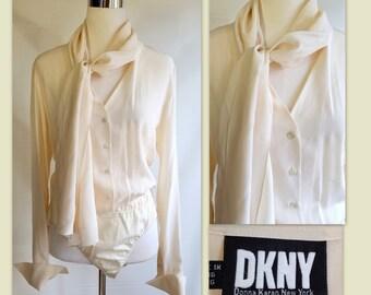 Vintage 80s DKNY Donna Karan Silk Ivory Bodysuit V-neck Size 12
