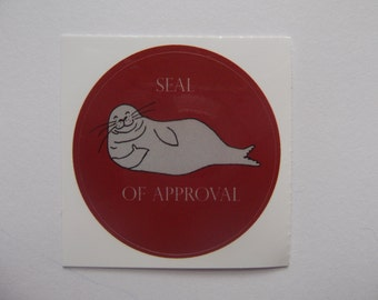 Set of four SEAL OF APPROVAL stickers- animal pun