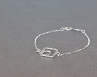 Delicate Silver Bracelet, Sterling Silver Dainty Bracelet, Geometric Bracelet, Square Bracelet