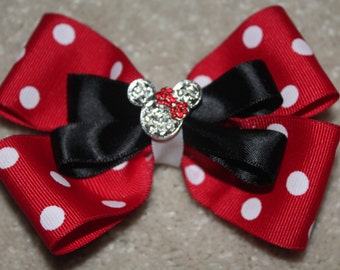 Red Minnie Mouse Inspired Boutique Bow