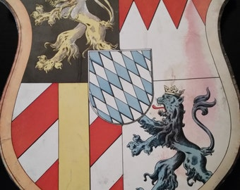 German Lion Coat of Arms Cardboard Sign Vintage State of Bayern Wall Hanging Sign Paper Ephemera Decoupage Man Cave Decor Game of Thrones
