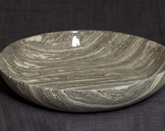 Handbuilted Black&White Marbled Stoneware Plate