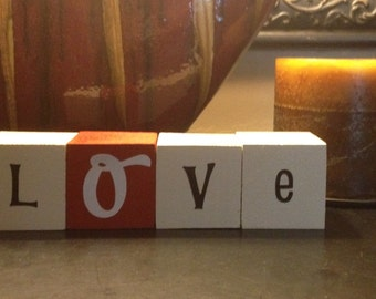 LOVE AND XOX {set} wood letter/word blocks for home decor and decorating/valentines day...