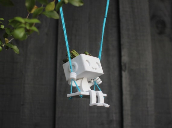 Hanging Planter 3DPrinted Robot on a Swing